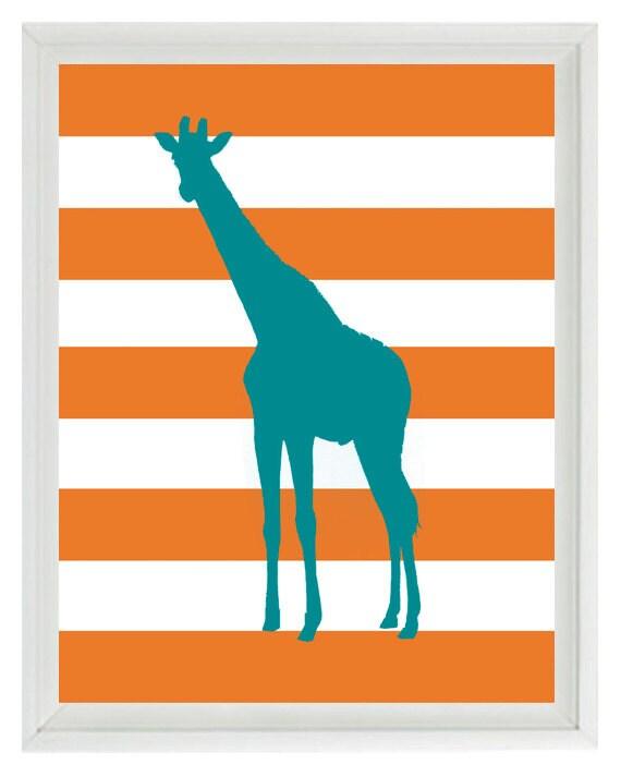 giraffe nursery wall art print safari africa teal orange