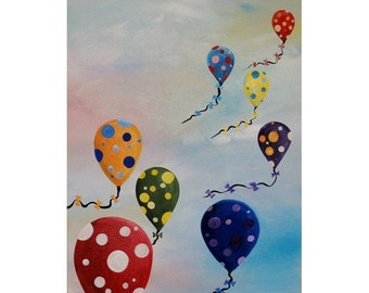 "Polka Dot Ballons flying in the sky, 16x20"" Stretched Canvas"