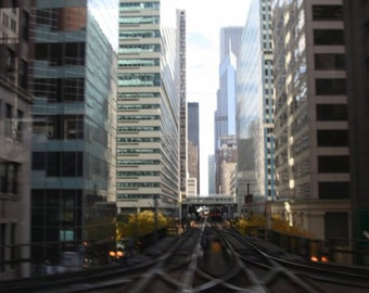 Where the Trains Meet, Chicago-- Fine Art Photography (4x6 BW print)
