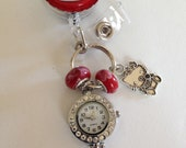 Hello Kitty BadgeReel with Watch and Murano Beads