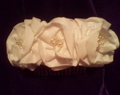 Bridal headpiece, candlelight  three roses with pearl and crystal centers