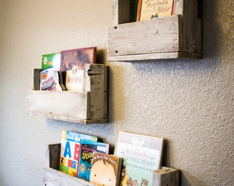Reclaimed Wood Bookshelves (Set of 3)