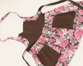 Pink and Brown Floral Print Apron with Two Pockets (Sizes 2T-5T)