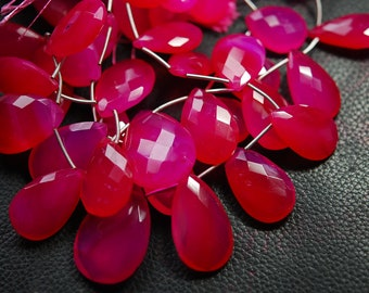 """10"""" Inches Strand -Hot Pink Chalcedony Faceted Pear Briolette, Size 25mm Approx"""