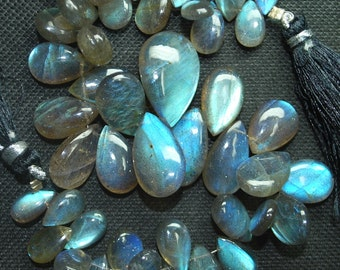 185 Carats, 8 Inch Strand,Superb-Finest Quality Labradorite Smooth Pear Shape Briolettes, 16-11mm size