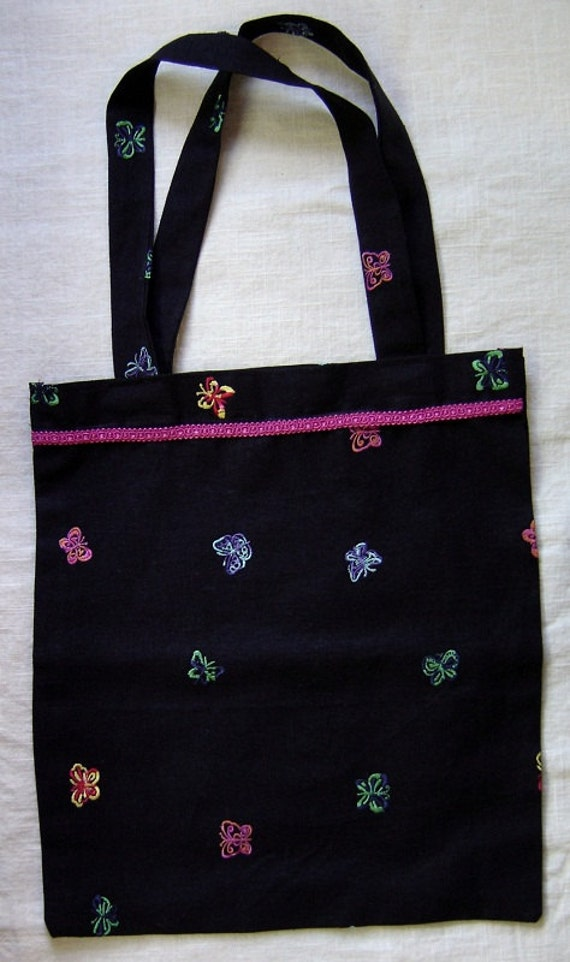 190 Colorful Butterfly Black Linen Tote Bag