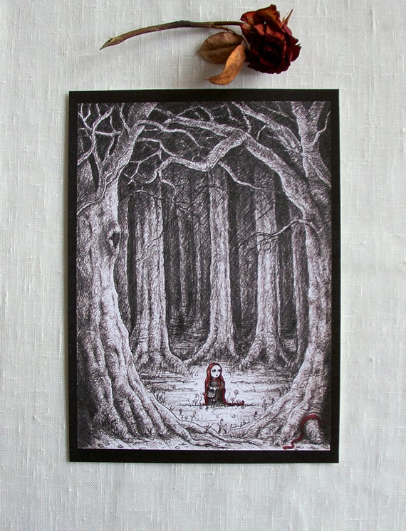 """Art Print """"Paranoia"""" -A4 (ca.8""""x11""""), pencils & ink drawing, little red riding hood, fairy tale"""