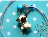 Cutest PUG on Earth Lampwork glass pendant miniature dog Necklace Baby Blue