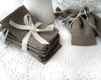 SET OF 80 Natural Rustic Linen Eco Wedding Favors Bag with  white ribbon- 4x6""