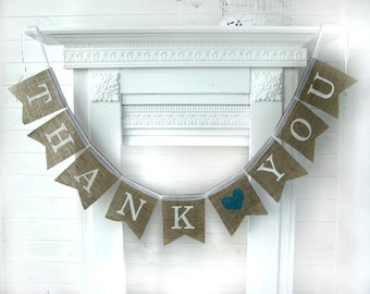 THANK YOU  Burlap Banner, Thank you with heart banner, Wedding sign, Photography prop - garland, cake table banner