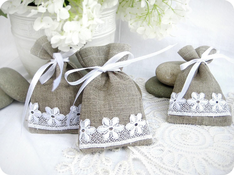 Gift Bag: Wedding Favor Bags Set Of 10 Natural Rustic Linen Wedding