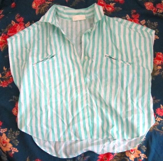 Vintage Sea Green Striped Crop Top SALE