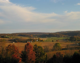 Fall Landscape 8X10 Photo, Fall Colors, Fall Foliage, Farm Landscape, Countryside, Rolling Hills, Valley,Rural Landscape, Rustic Home Decor