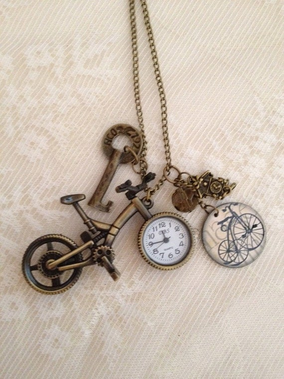 Pendant Necklace:  Bicycle Pocket Watch with Charms, Antique Bronze.