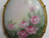 Large Antique Victoria Hand Painted Porcelain Pin/ Brooch Pink Roses