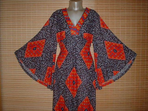 Vintage Maxi DRESS Red Deep V Neck Amazing HUGE Bell Sleeves Patchwork Hippie Lounge Festival Gown