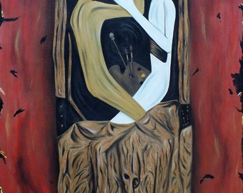 Expressionist figurative  - Original Oil Painting on stretchered canvas by International artist Allen Richings