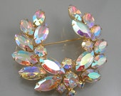 Vintage Rhinestone Brooch Laurel Leaves Opalescent Prong Set Stones Circa 1960-70s Costume Jewelry