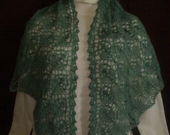 Lace triangle shawl shawl grey green seablue mohair  FREE shipping