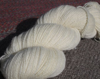 Romney Wool Yarn  --l White, finger weight, 4 ounce, 2-ply skein