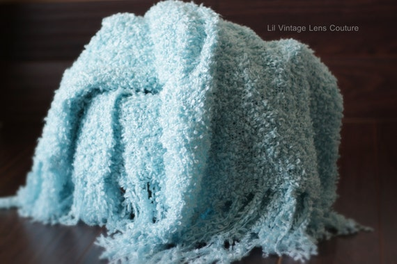 Robins Egg Blue - Throw Blanket- Ready to ship - Photography Backdrop Great for Newborn photography