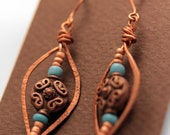 Copper Hammered Wire Earrings Decorative Copper Beads