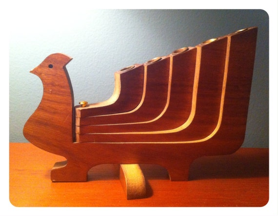 Mid -century teak bird candle holder.