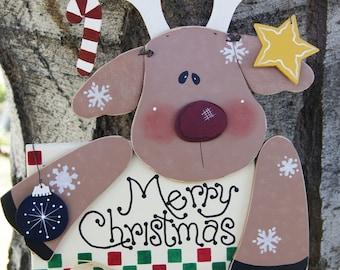 Merry Christmas Reindeer Yard Stick - Rudolph Yard Stick- Wood Christmas Outdoor Sign