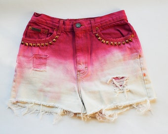 Vintage Calvin Klein High Waist Dyed Pink Ombre Studded Bleached and Distressed Denim Cut Off Shorts