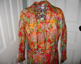 1970s Wacky Retro Multicolored Metallic Outfit - Large