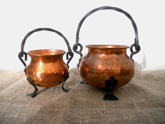 Swedish vintage Copper pot Footed sugar bowl Copper bowl set Scandinavian design Copper home decor