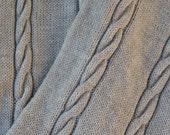 Handknit Womens Wool Beige Light Grey Snood Scarf