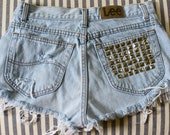 One of a Kind Distressed & Studded Denim Shorts - Silver Pyramid Studs
