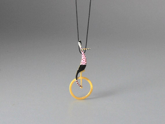A Balancer  Sterling Silver Pendant Matte Gold Finish Delicate Hand Painting With Beautiful Details Contemporary Design for Unique Outfits