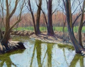 """Original Pastel Landscape Painting - """"Opening Day"""" by Colette Savage, trout stream fishing creek water reflections tree shadows creek bank"""