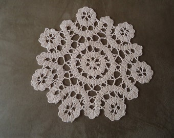 Vintage Hand crocheted doily in Ecru