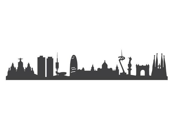 Graue barcelona skyline klebefolie m bel sticker von 44spaces for Graue klebefolie