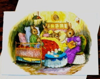 vintage cards ... BUNNIES BEDTIME STORY image single Cart Front only ...