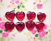 20pcs acrylic red heart cabochon 12mm