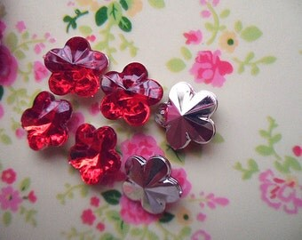 20pcs Muti faceted red flower 3D acrylic rhinestone cabochon 14mm
