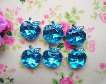 20pcs Emerald blue  jewelry accessories 3D acrylic rhinestone Apple cabochon 14mm