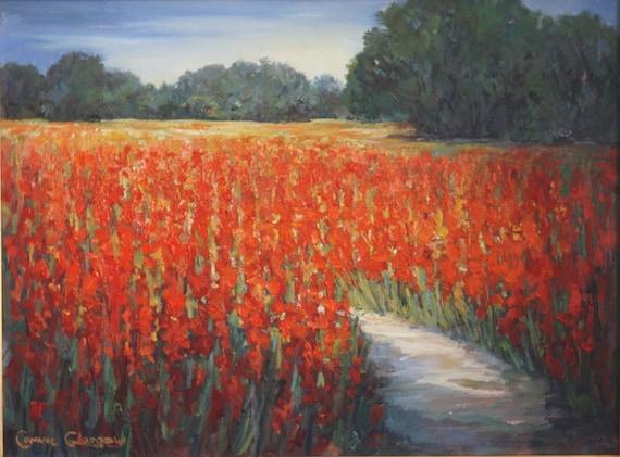 Original oil painting of Gladiola Fields.