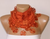 dark orange pashmina fabric scarf with lace,women scarves,gift ideas,for her,scarf trends,lace scarf