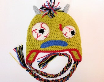 Green Monster Earflap Hat. (Any Sizes: Newborn to Adult). Please send the size.