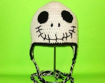 Skeleton Earflap Hat. (Any Sizes: Newborn to Adult). Please send the size.