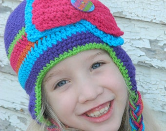 Purple striped earflap hat with Bow and Button/ Girls Hat/ Bow Hat/ Purple Hat/ Made to order in size infant to adult