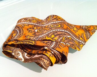 60s Silk Orange Paisley Print Wide Belt Sash