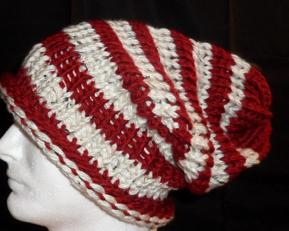 Red/White striped Slouchy Hat - Think Cat in the Hat