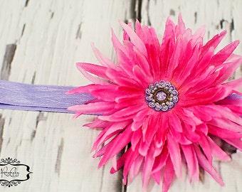 Pink Sunburst Flower Lavender Elastic Headband