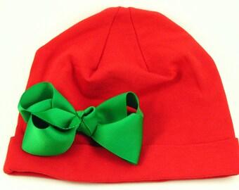 Christmas Hat.Baby Christmas Beanie.Baby Girl Beanie.Red Christmas Beanie.Christmas Hat.Christmas Baby Beanie.Christmas Hair Bow.Green Bow